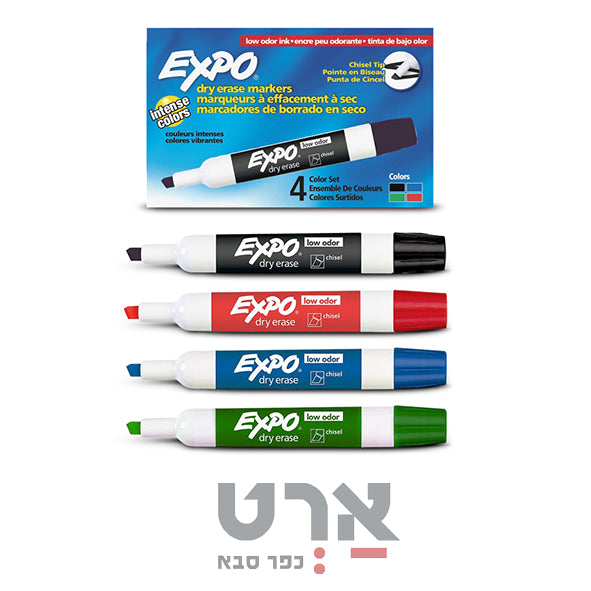 סט 4 טושים ללוח מחיק ראש קטום expo low odor ink