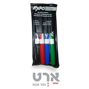 סט 4 טושים ללוח מחיק דקים expo dry erase low odor ink
