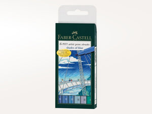סט 6 טושי מכחול pitt shades of blue Faber castell