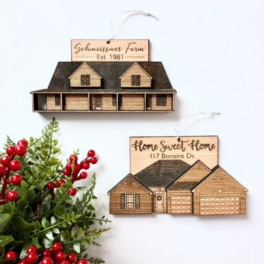 Custom House Ornament Or Magnet Rooted Built Design