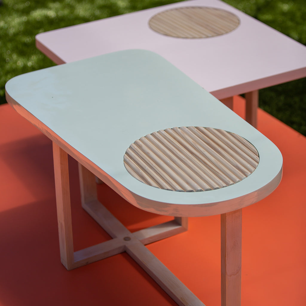 Peach and Mint Dowel Inset Nested Tables