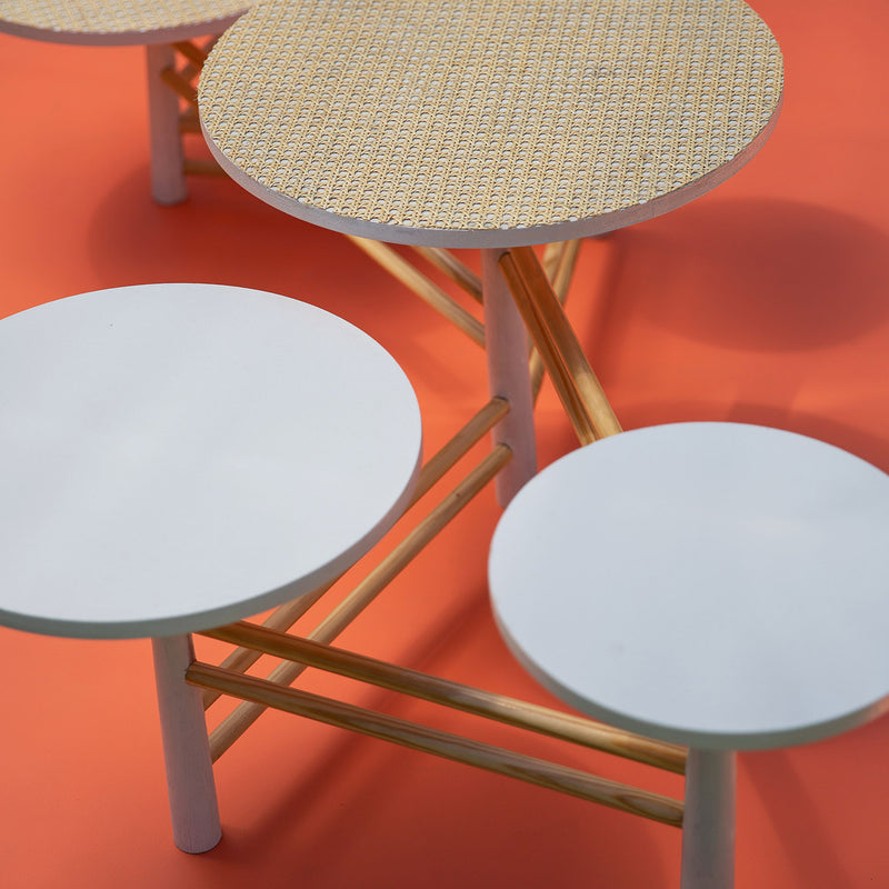 Francisco - Peach and Mint Dowel Inset Nested Tables