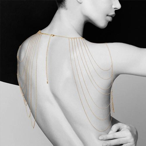 Magnifique Metallic chain shoulders & back jewelry - Gold