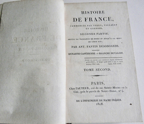 Histoire de France. Seconde partie by Ant. Fantin Desodoards 16 0f 25 vols. - Everlasting Editions