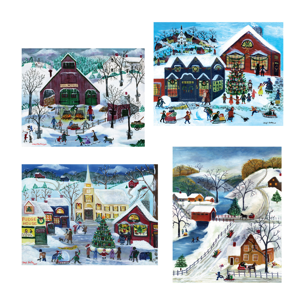 Christmas Villages - Mini Puzzles Set (50 Pieces Each)
