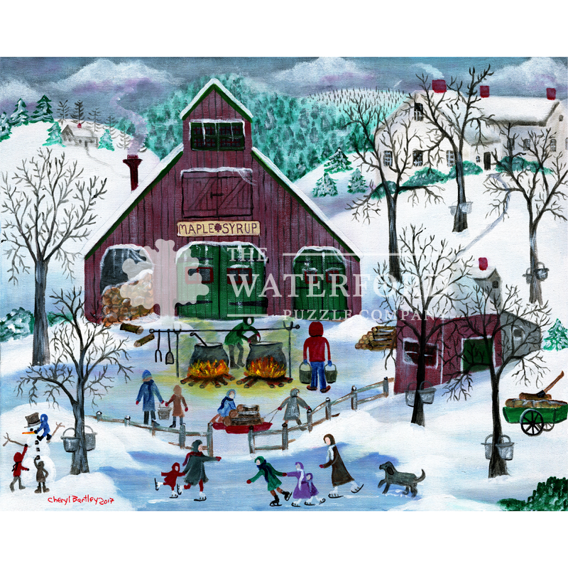 Snowy Maple Syrup Makers and Ice Skaters