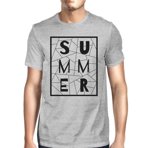 Summer Geometric Lettering Mens Grey Tshirt Cotton Trendy Design