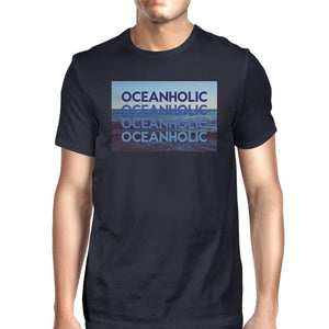 Oceanholic Mens Navy Graphic Tee Lightweight Tropical Design Tee