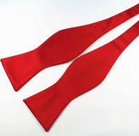 Red Adjustable Self Bow Tie 100% Silk