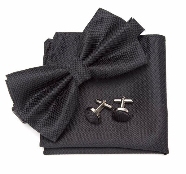 Black Pre-tied Bowtie 3 pc set with Handkerchief and Cufflinks