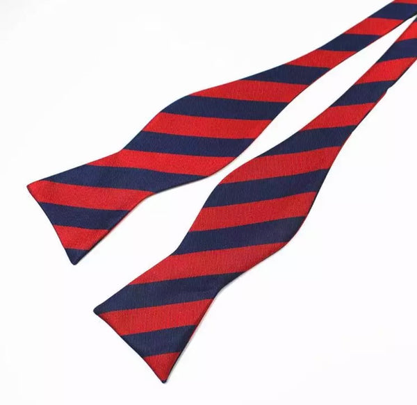 Blue/Red Adjustable Bowties Self Bow Tie Men's 100% Silk Jacquard Woven