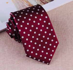 Dark Crimson Polka Dot Tie