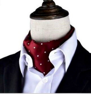 Dark Crimson and White Polka Dot Ascot