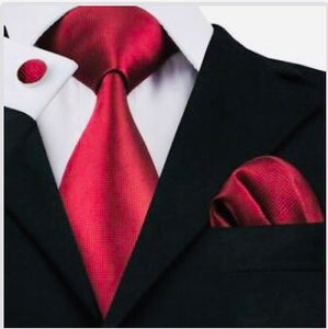 3pc Crimson Tie Set- 100% Silk