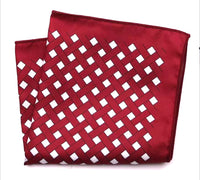 Crimson with White Diamond Pocket Square
