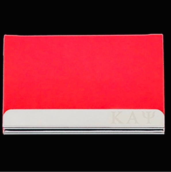 Kappa  Business Card Holder - Stainless Steel With Red Leather