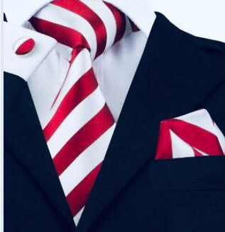 3pc Stripe Tie Set- 100% Silk