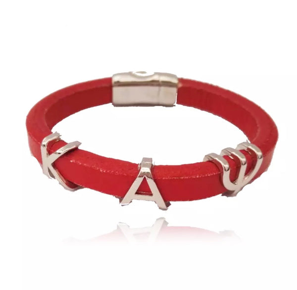 Red Leather Kappa Alpha Psi Bracelet