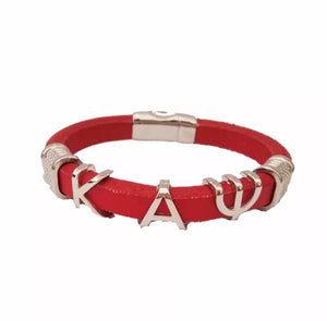 Red & Silver Kappa Leather Bracelet