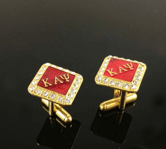 Crimson Studded Cufflinks (Gold)