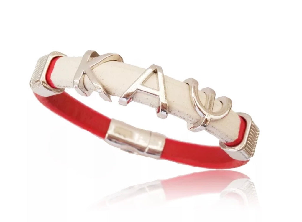 Red and White Leather Bracelet