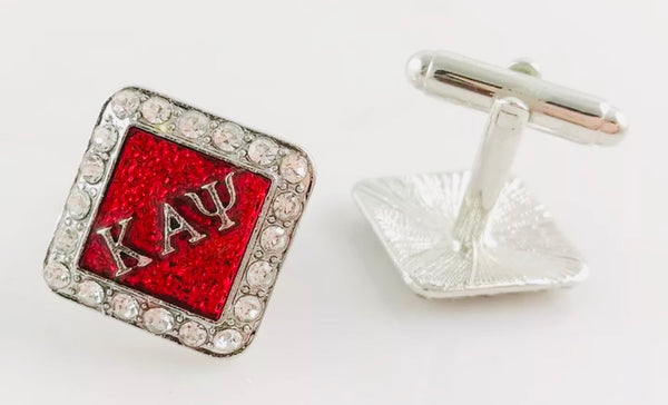 Crimson Studded Cufflinks ( Silver)