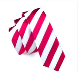 Slim Red and White Stripe Tie (100% Silk)