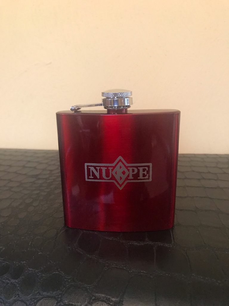 Glossy Red Nupe 5oz Stainless Steel Flask