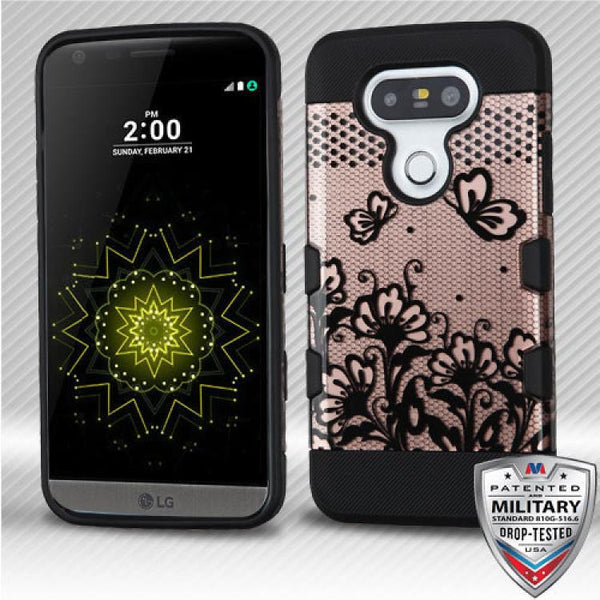 Case - MYBAT Black Lace Flowers (2D Rose Gold)/Black TUFF Trooper Hybrid Protector Case [Military-Grade Certified] For LG G5