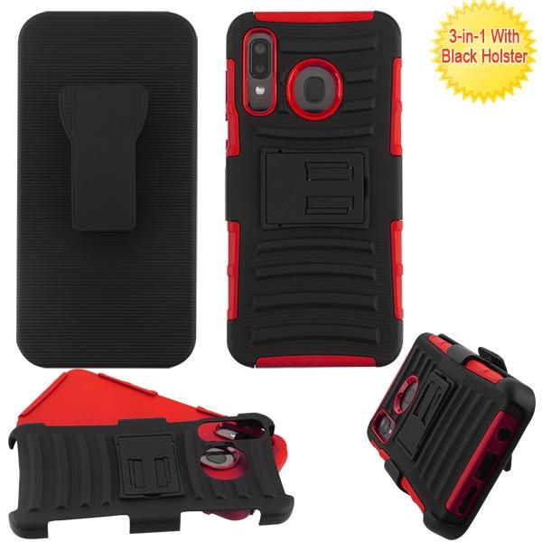 Case - MYBAT Black/Red (with Black Holster) Advanced Armor Stand Combo Case For Samsung Galaxy A20, Samsung Galaxy A50