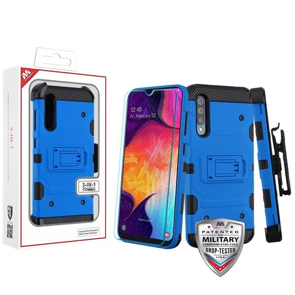 Case - MYBAT Blue/Black 3-in-1 Storm Tank Hybrid (with Black Holster And Tempered Glass Screen Protector) Guaranteed Drop Protective Combo Case For Samsung Galaxy A50