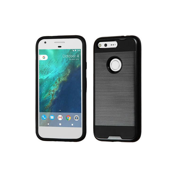 Case - MYBAT Brushed Hybrid Protective Case (Black) For Google Pixel