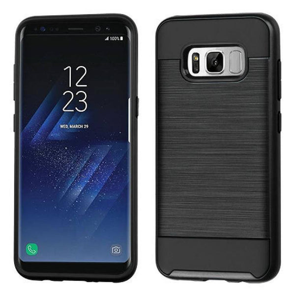 Case - MYBAT Brushed Hybrid Protective Case (Black) For Samsung Galaxy S8 Plus