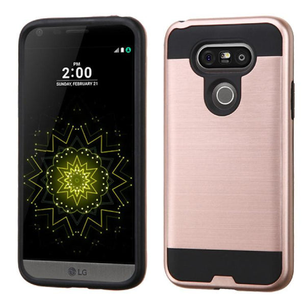 Case - MYBAT Brushed Hybrid Protective Case (Rose Gold/Black) For LG G5