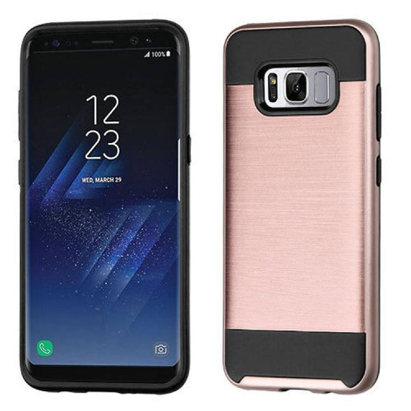 Case - MYBAT Brushed Hybrid Protective Case (Rose Gold/Black) For Samsung Galaxy S8 Plus
