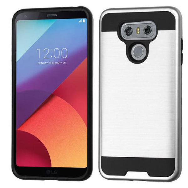 Case - MYBAT Brushed Hybrid Protective Case (Silver/Black) For LG G6