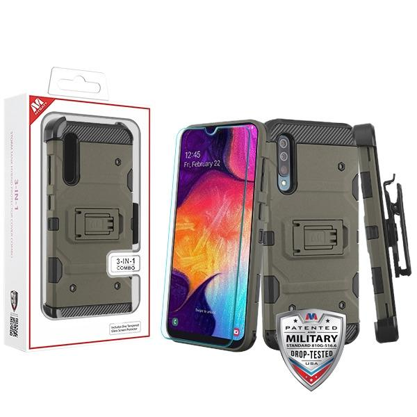 Case - MYBAT Dark Grey/Black 3-in-1 Storm Tank Hybrid (with Black Holster And Tempered Glass Screen Protector) Guaranteed Drop Protective Combo Case For Samsung Galaxy A50