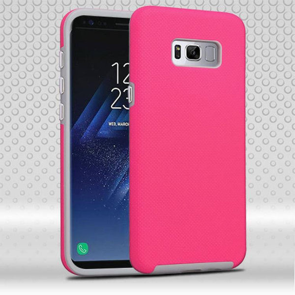 Case - MYBAT Fusion Protector Cover Case (Electric Pink Dots Textured/Iron Gray) For Samsung Galaxy S8