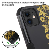 Case - MYBAT Gold Floral Stripe/Black TUFF Hybrid Guaranteed Drop Protective Case For IPhone 11