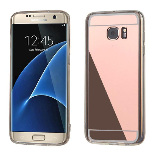 Case - MYBAT Gummy Cover Case (Rose Gold/Transparent) For Samsung Galaxy S7 Edge