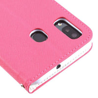 Case - MYBAT Hot Pink Pattern/White Liner MyJacket Wallet Crossgrain Series(842) -WP For Samsung Galaxy A20