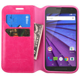 Case - MYBAT MyJacket Wallet Case (With Card Slot) (Hot Pink) For Motorola Moto G (3rd Gen.)