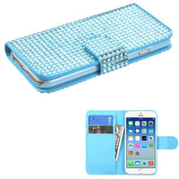 Case - MYBAT MyJacket Wallet Case With Card Slot (Light Blue Diamonds) For IPhone 6, IPhone 6S