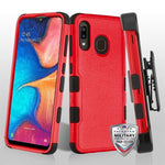 Case - MYBAT Natural Red/Black TUFF (with Black Horizontal Holster) Hybrid Guaranteed Drop Protective Case For Samsung Galaxy A20
