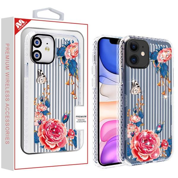 Case - MYBAT Peach Rose Garden Suitup Candy Skin Cover (with Diamonds) Case For IPhone 11
