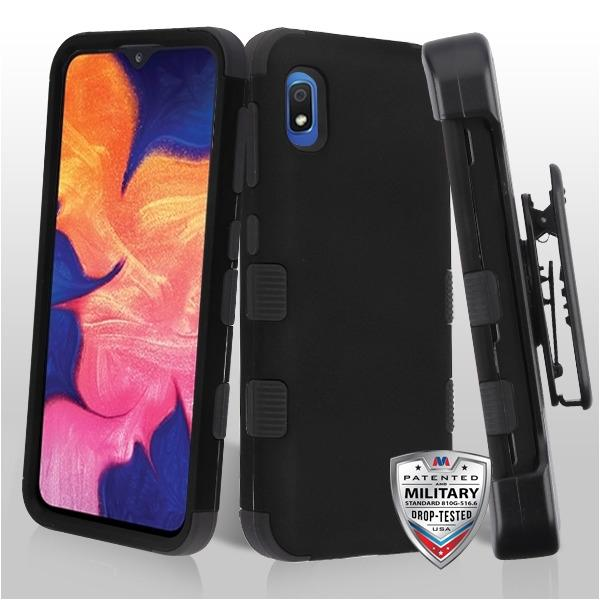 Case - MYBAT Rubberized Black/Black TUFF Hybrid (with Black Horizontal Holster) Guaranteed Drop Protective Case For Samsung Galaxy A10e