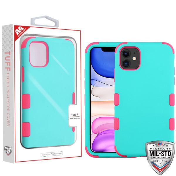 Case - MYBAT Rubberized Teal Green/Electric Pink TUFF Hybrid Guaranteed Drop Protective Case For IPhone 11