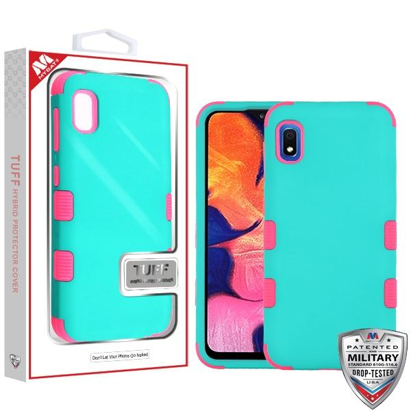 Case - MYBAT Rubberized Teal Green/Electric Pink TUFF Hybrid Guaranteed Drop Protective Case For Samsung Galaxy A10e