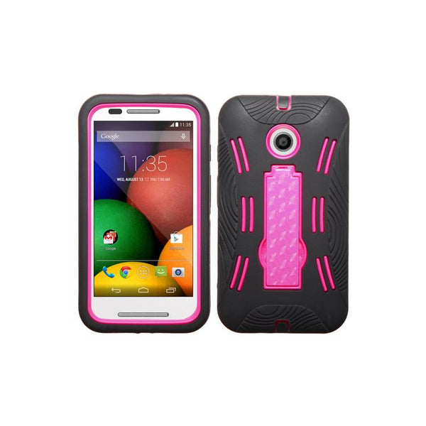 Case - MYBAT Rugged Protector Case With Stand (Black/Hot Pink)  For Motorola Moto E