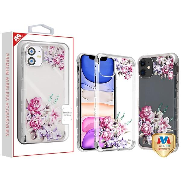 Case - MYBAT Silve Plating/Romantic Love Flowers Diamante TUFF Klarity Lux Candy Skin Cover Case For IPhone 11